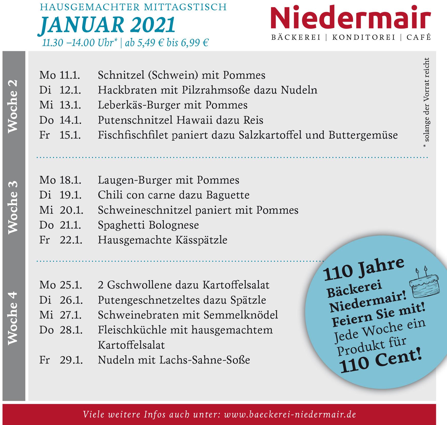 Monatskarte Januar 2021